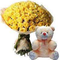 Birthday Teddy and Flowers to Delhi