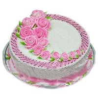 Send Eggless Cakes to Delhi - Strawberry Cake